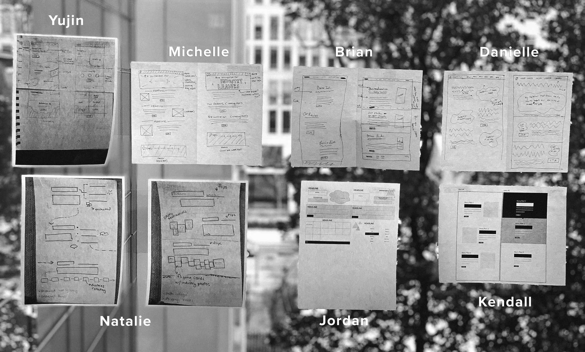 The team's sketches from the design sprint.