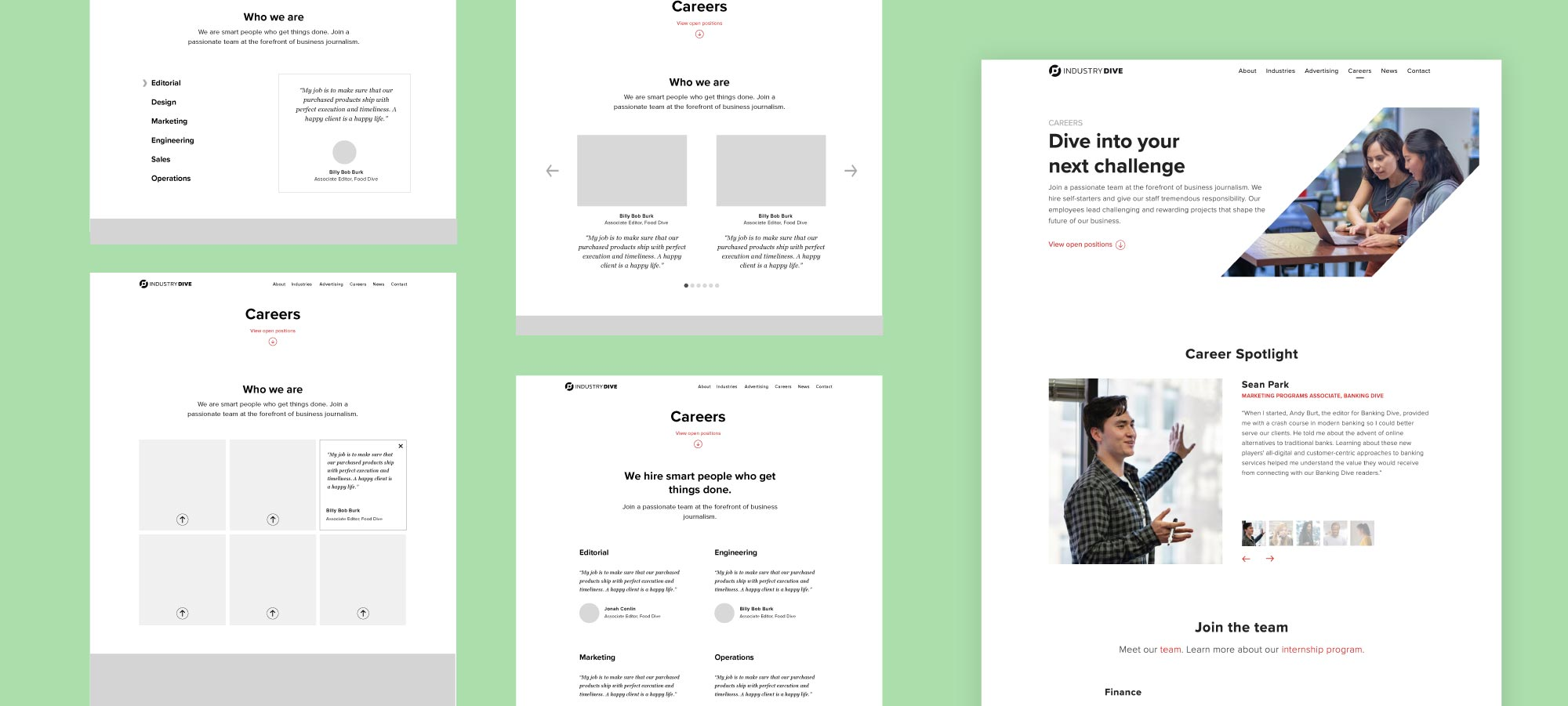 Mockups for the career spotlight section and the final design.