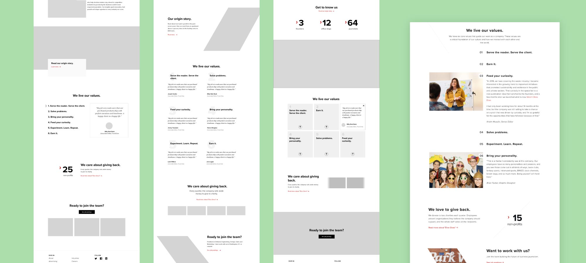 Mockups for the company values section and the final design.