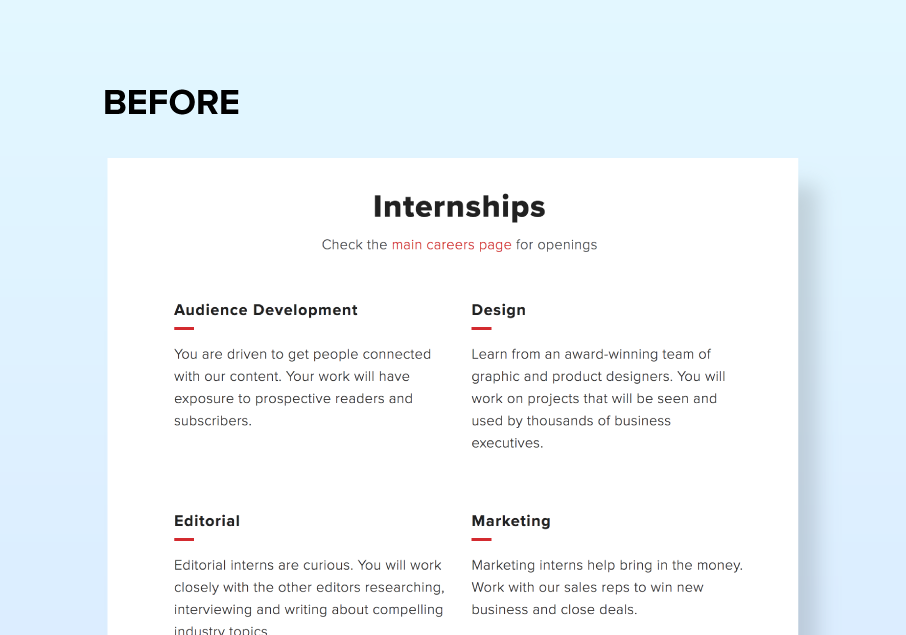 The internship section before changes
