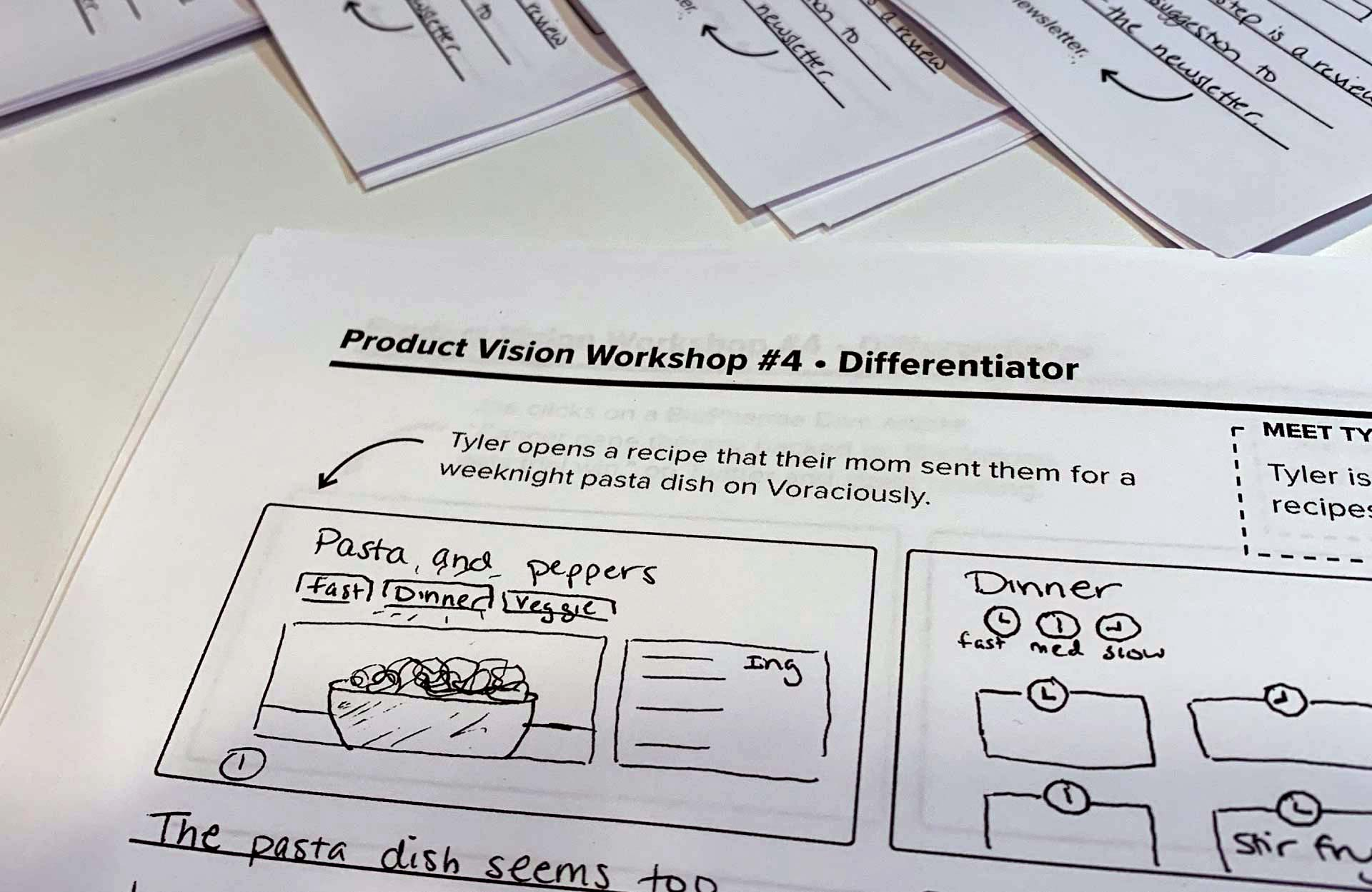 Worksheets for the 'aspirational storyboards exercise' illustrating an example storyboard.